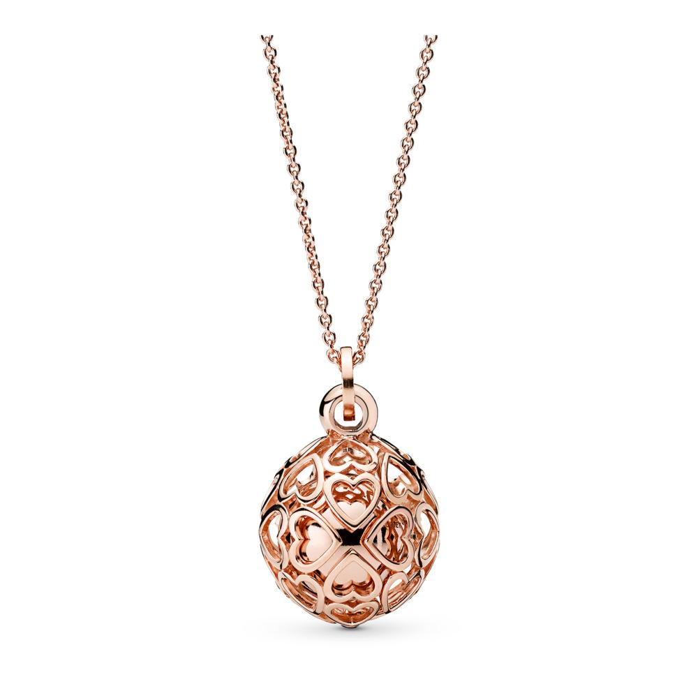 Harmonious Hearts Chime Necklace, PANDORA Rose™, PANDORA Rose - PANDORA - #387299