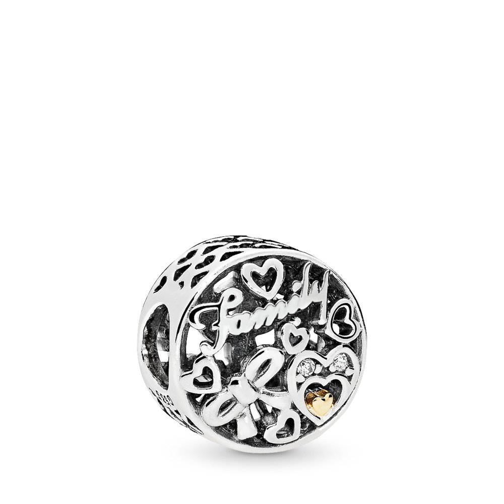 Family Tribute Charm, Clear CZ, Two Tone, Cubic Zirconia - PANDORA - #796267CZ