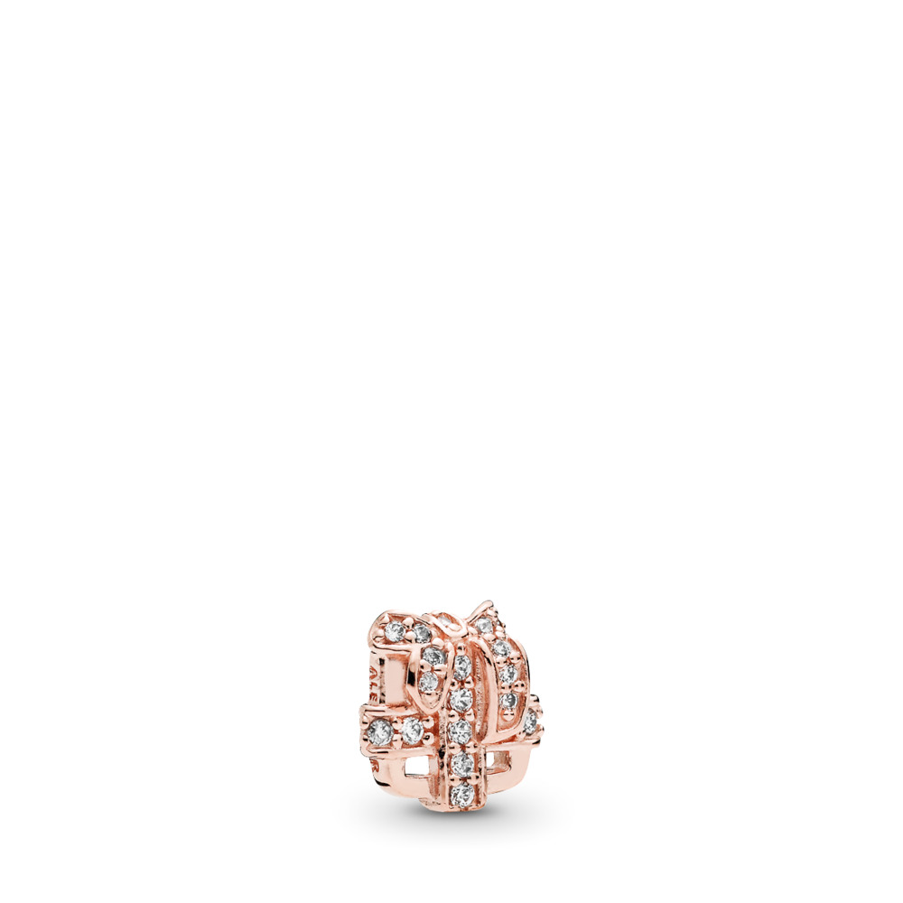 All Wrapped Up Petite Locket Charm, PANDORA Rose™ & Clear CZ, PANDORA Rose, Cubic Zirconia - PANDORA - #782167CZ