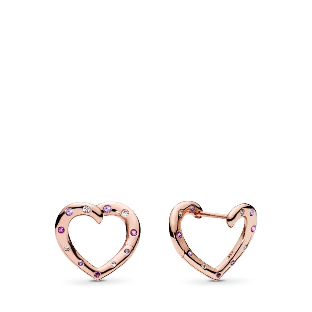Bright Hearts Hoop Earrings, PANDORA Rose™, Royal Purple & Lilac Crystals & Clear CZ, PANDORA Rose, Purple, Mixed stones - PANDORA - #287231NRPMX