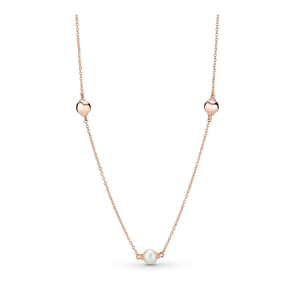 Contemporary Pearls Necklace, Freshwater cultured Pearl, PANDORA Rose, White, Freshwater cultured pearl - PANDORA - #387550P