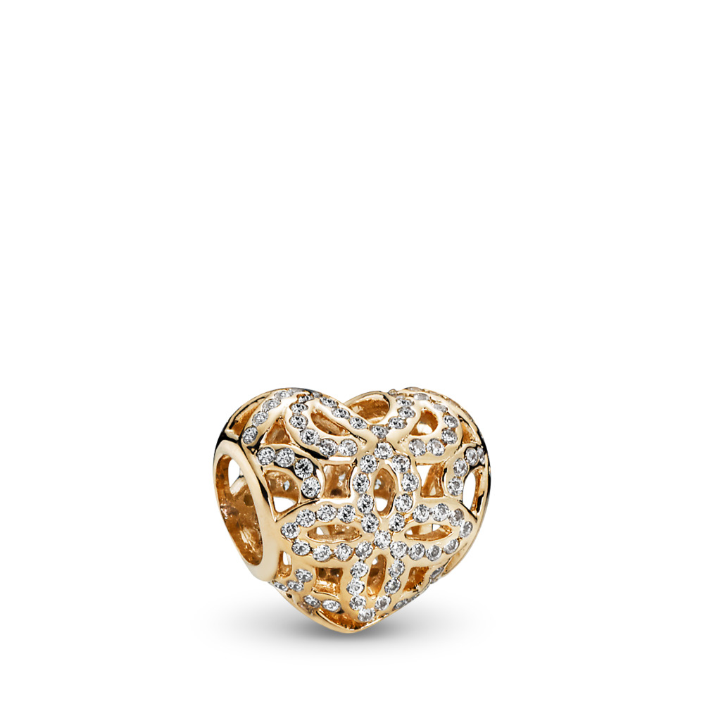 Love & Appreciation Charm, Clear CZ & 14K Gold, Yellow Gold 14 k, Cubic Zirconia - PANDORA - #750837CZ