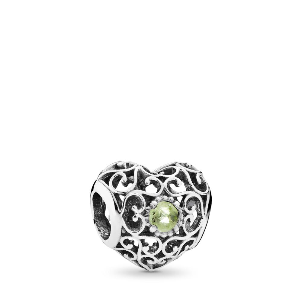 August Signature Heart Charm, Peridot, Sterling silver, Green, Peridot - PANDORA - #791784PE