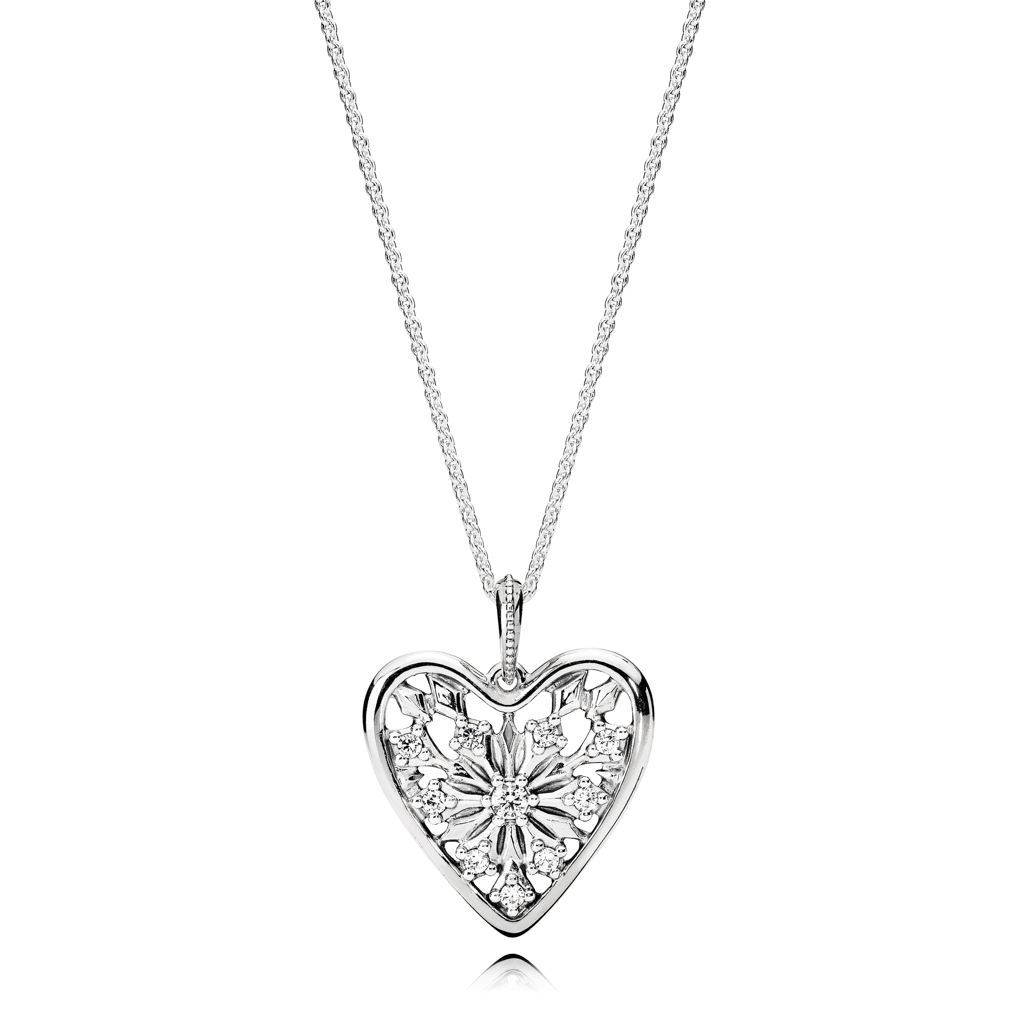 Heart of Winter Necklace, Clear CZ