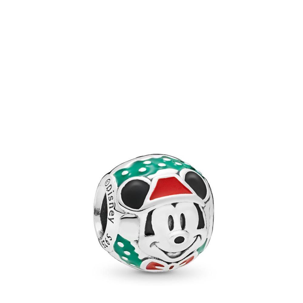 Disney, Santa Mickey Charm, Red & Green Enamel, Sterling silver, Enamel, Black - PANDORA - #797502ENMX