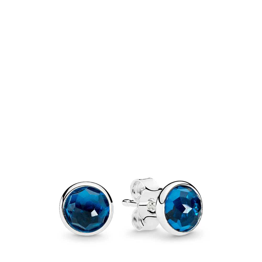 December Droplets Stud Earrings, London Blue Crystal, Sterling silver, Blue, Crystal - PANDORA - #290738NLB