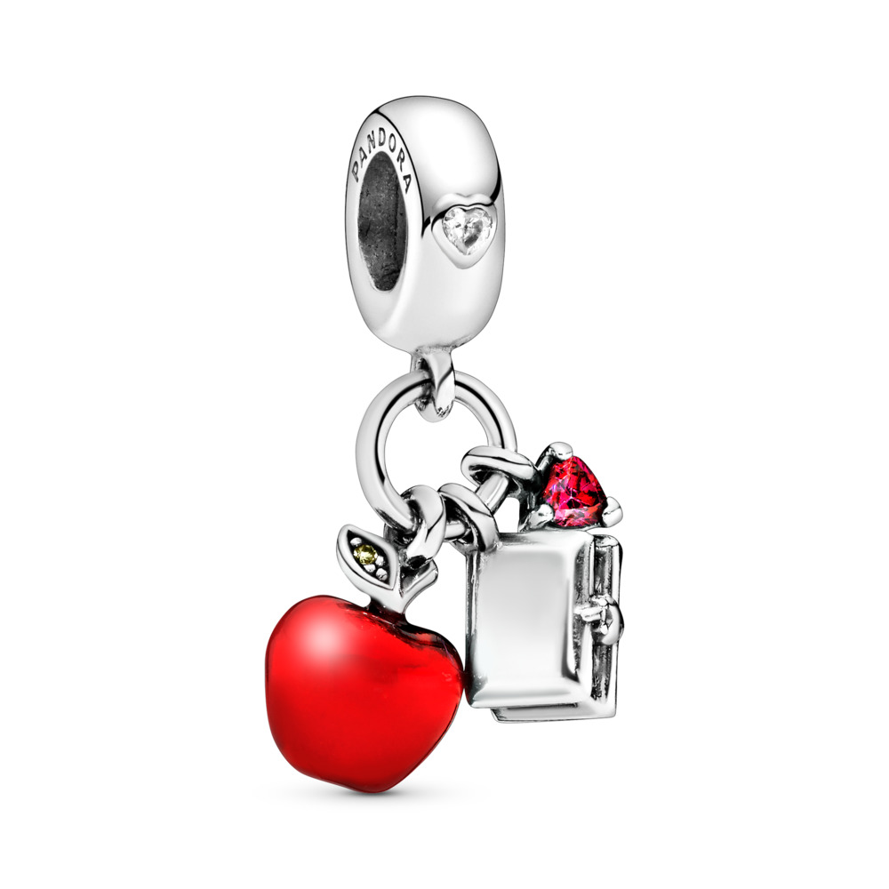 Disney, Snow White's Apple & Heart Dangle Charm, Red & Green CZ & Red Enamel, Sterling silver, Enamel, Green, Mixed stones - PANDORA - #797486CZRMX