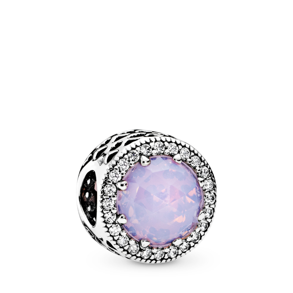 Radiant Hearts Charm, Opalescent Pink Crystal & Clear CZ, Sterling silver, Pink, Mixed stones - PANDORA - #791725NOP