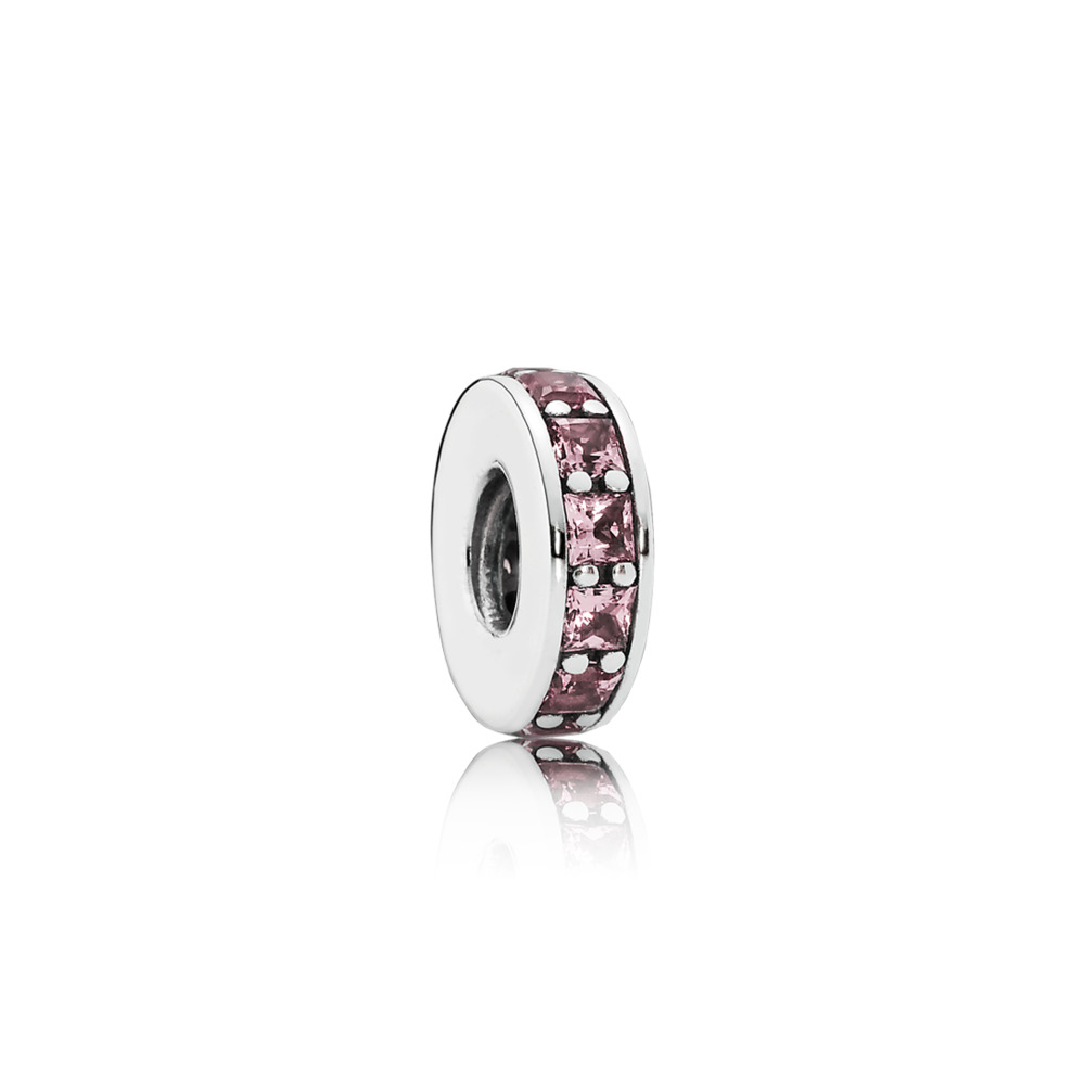 Eternity Spacer, Blush Pink Crystal, Sterling silver, Pink, Crystal - PANDORA - #791724NBP