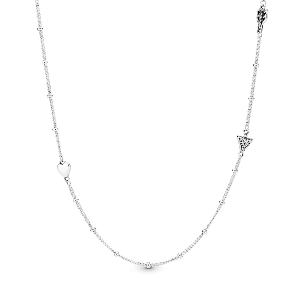 671e90e95 Sparkling Arrow Necklace, Clear CZ, Sterling silver, Cubic Zirconia -  PANDORA - #