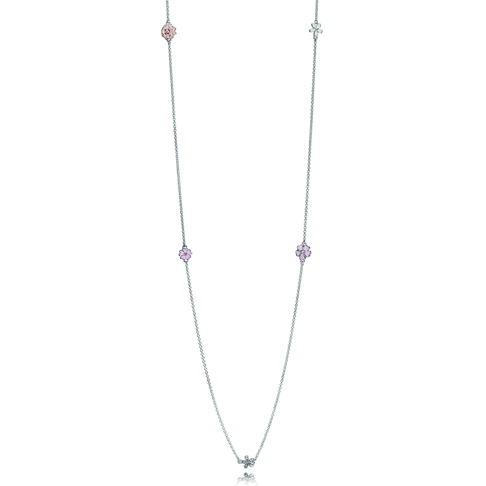 Poetic Blooms Necklace, Mixed Enamels, Clear CZ & Blush Pink Crystal