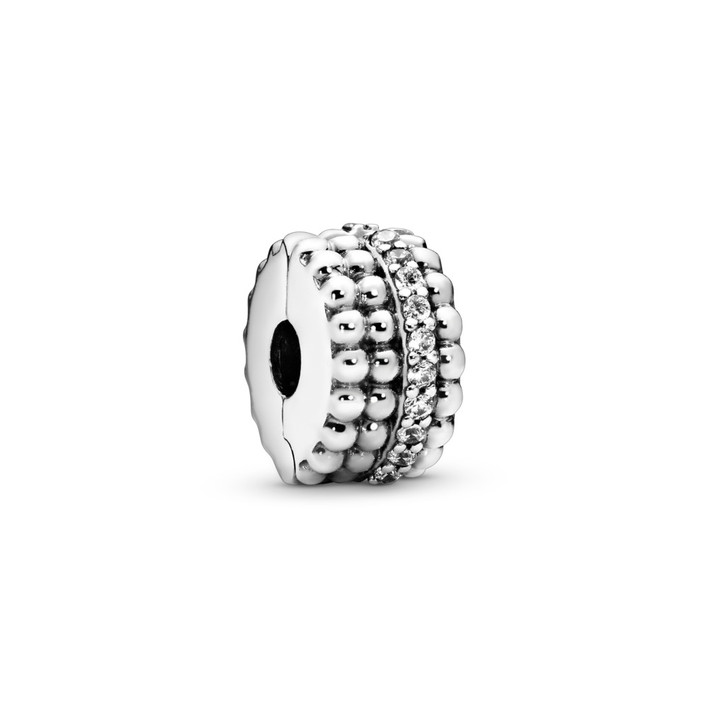 Beaded Brilliance Clip, Clear CZ, Sterling silver, Cubic Zirconia - PANDORA - #797520CZ