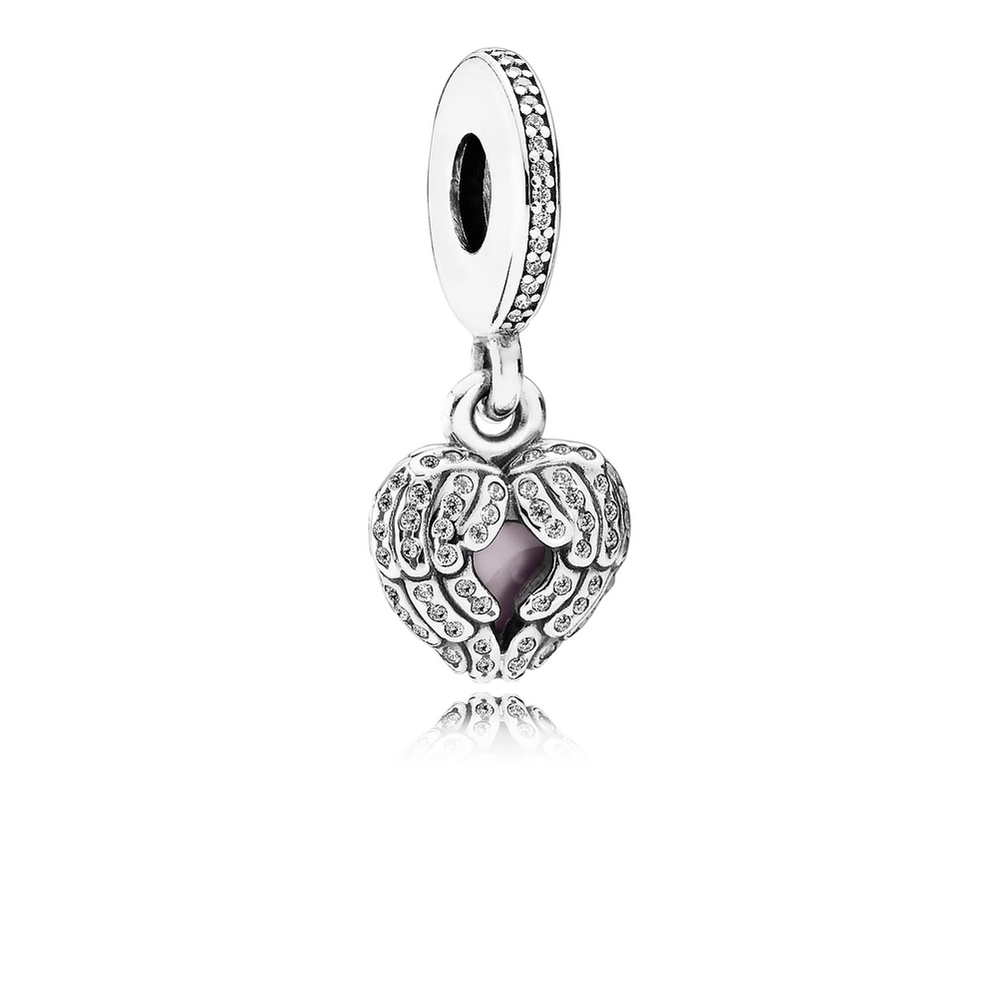 Angel Wings Dangle Charm, Clear CZ & Pink Enamel