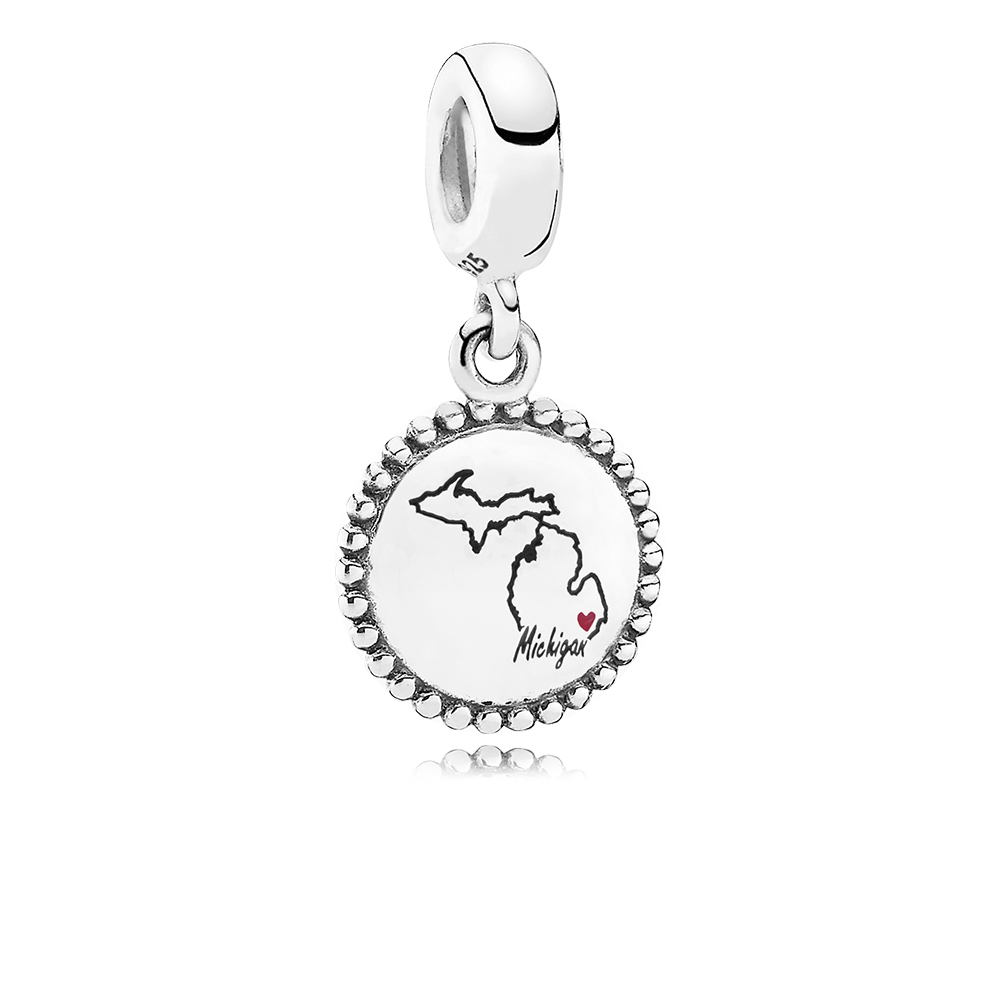 Michigan State Heart Charm, Mixed Enamel, Sterling silver, Enamel, Black - PANDORA - #ENG791169_104
