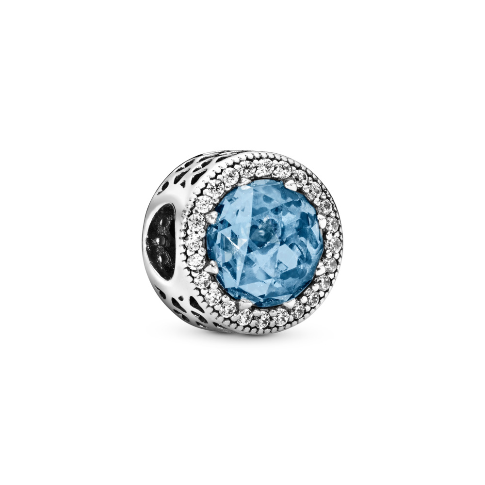 Radiant Hearts Charm, Sky-Blue Crystal & Clear CZ, Sterling silver, Blue, Mixed stones - PANDORA - #791725NBS