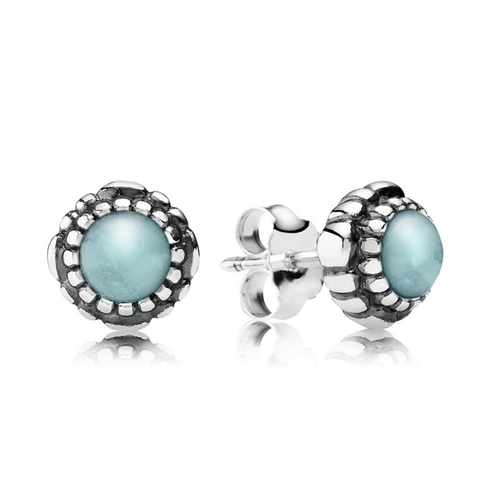 Birthday Blooms Stud Earrings, March, Aquamarine