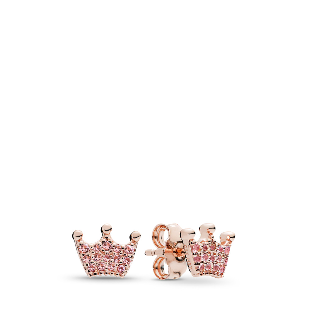 Pink Enchanted Crowns Stud Earrings, PANDORA Rose™ & Pink Crystals, PANDORA Rose, Pink, Crystal - PANDORA - #287127NPO