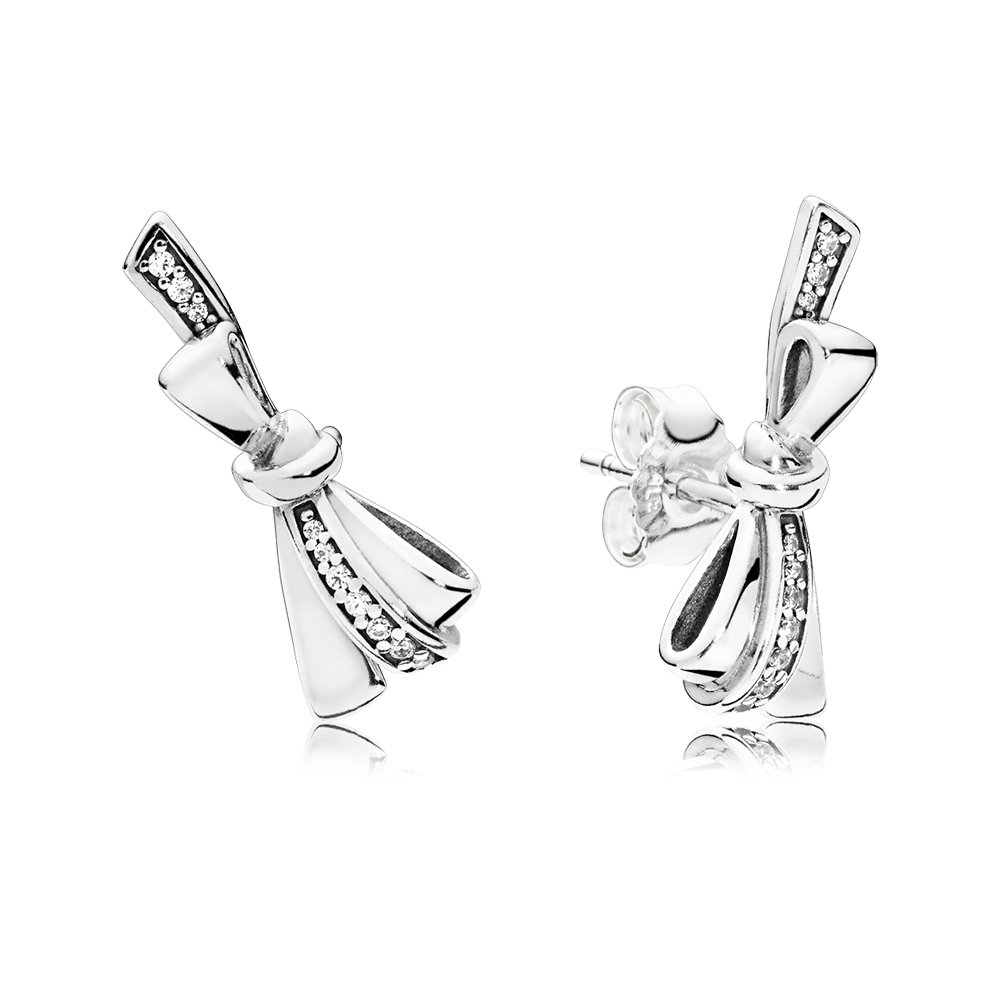 Brilliant Bows Stud Earrings, Clear CZ