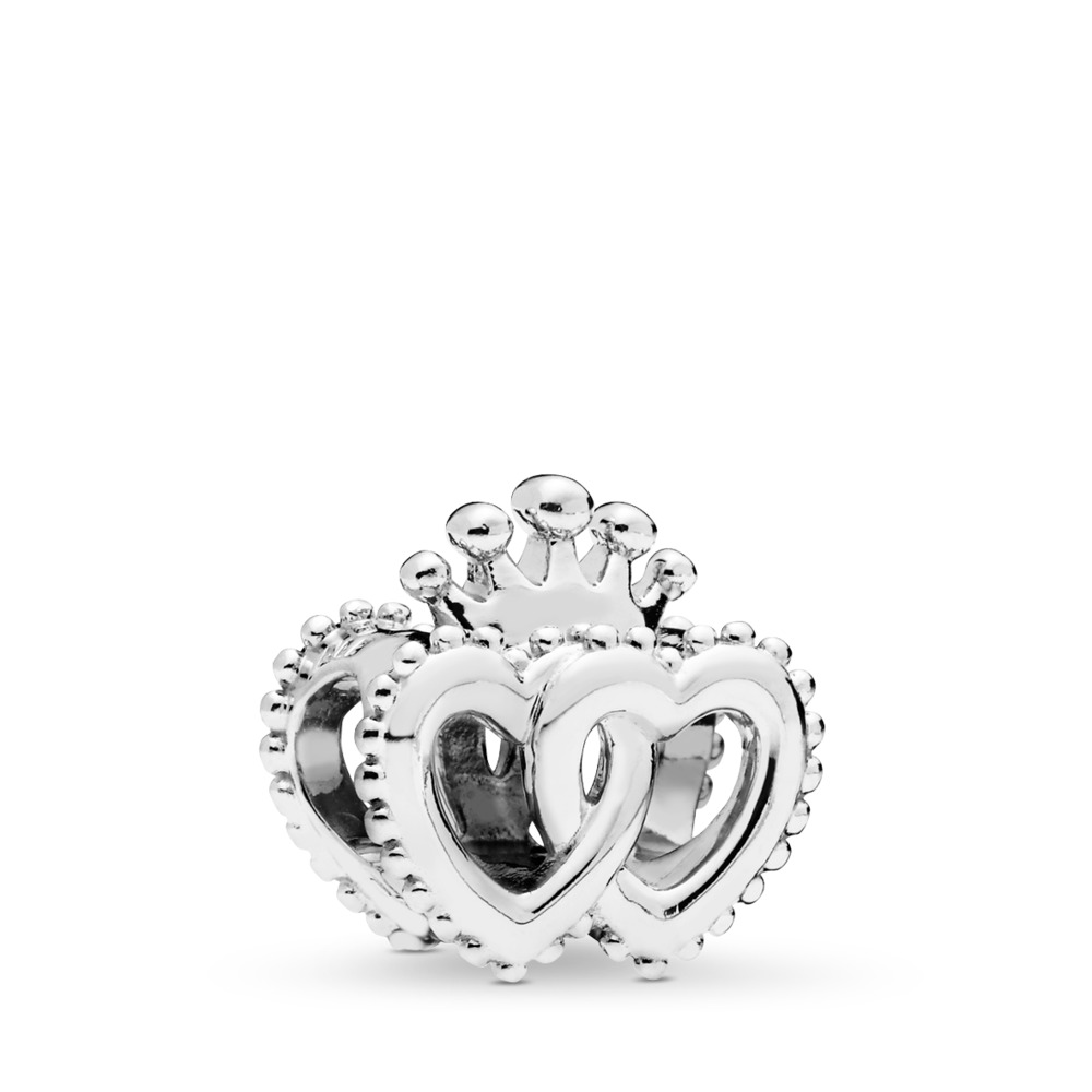 United Regal Hearts Charm, Sterling silver - PANDORA - #797670