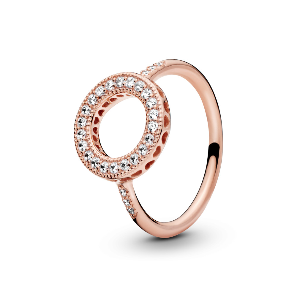Hearts of PANDORA Halo Ring, PANDORA Rose™ & Clear CZ