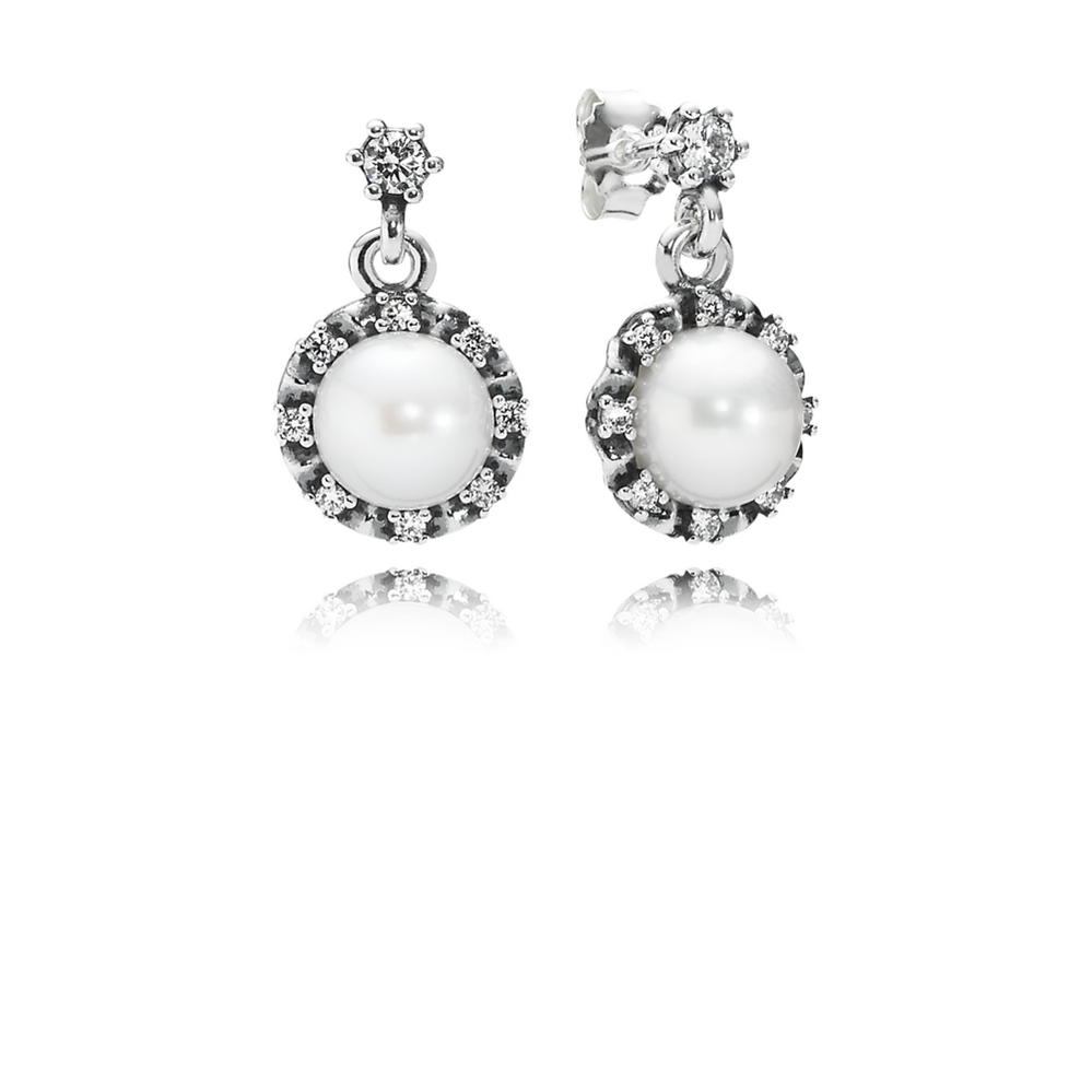 Everlasting Grace Drop Earrings, White Pearl & Clear CZ