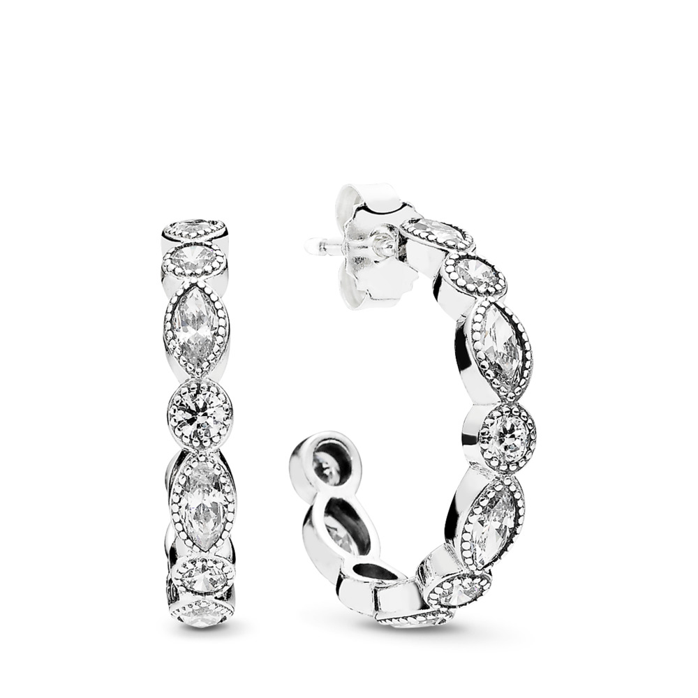 33d9b64b1 Alluring Brilliant Marquise Hoop Earrings, Clear CZ, Sterling silver, Cubic  Zirconia - PANDORA