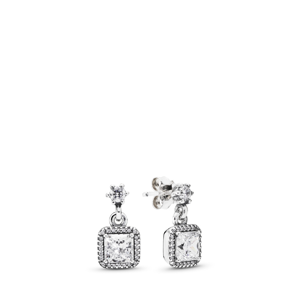 Timeless Elegance Drop Earrings, Clear CZ, Sterling silver, Cubic Zirconia - PANDORA - #290593CZ