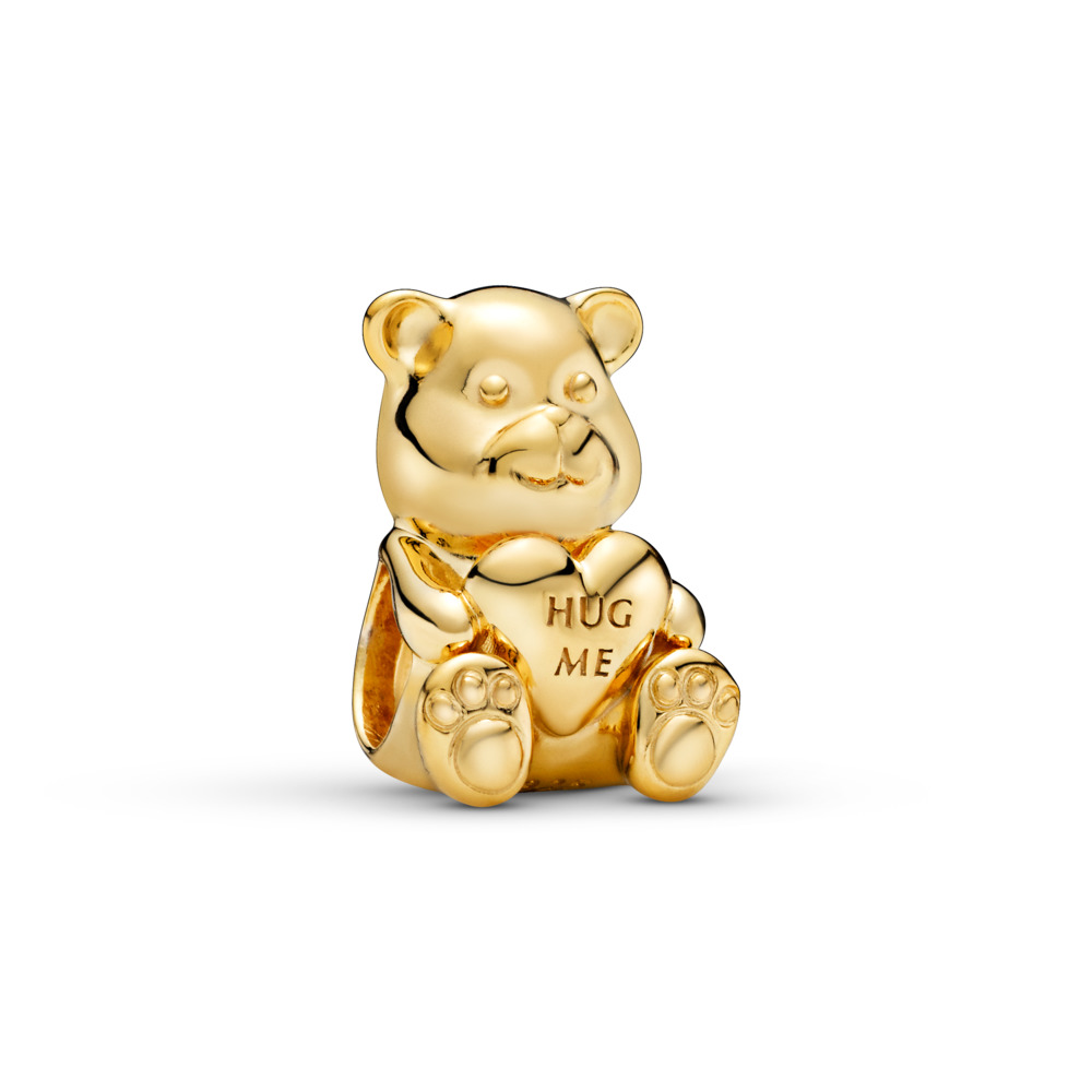 Theodore Bear Charm, PANDORA Shine™, 18ct Gold Plated - PANDORA - #767236