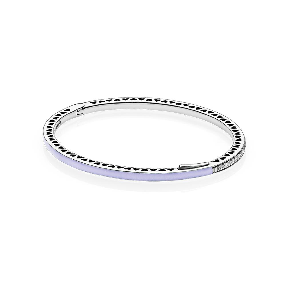 Radiant Hearts of PANDORA Bangle Bracelet, Lavender Enamel & Clear CZ