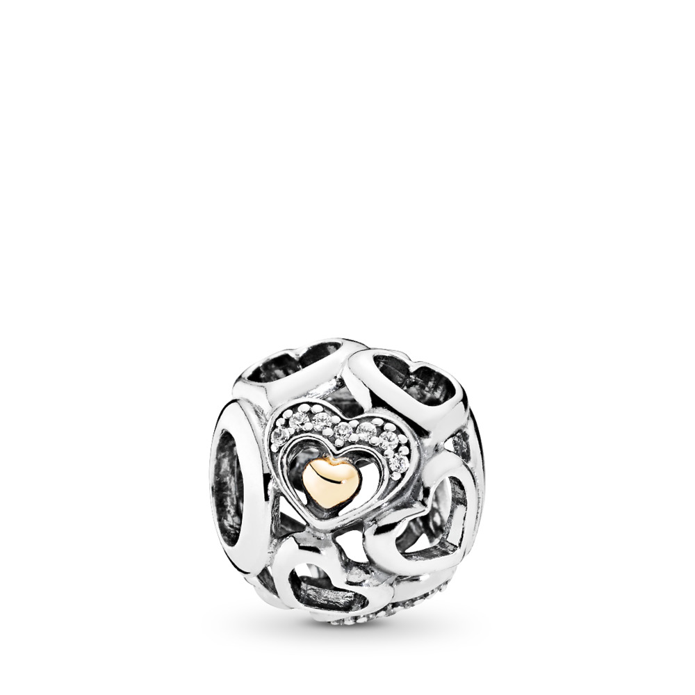 Heart of Romance Charm, Clear CZ, Two Tone, Cubic Zirconia - PANDORA - #792108CZ
