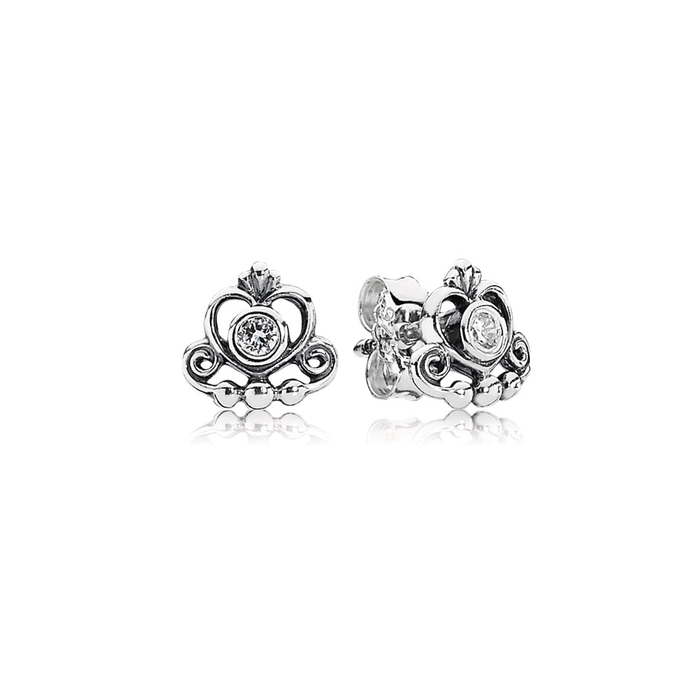 My Princess Tiara Stud Earrings, Clear CZ, Sterling silver, Cubic Zirconia - PANDORA - #290540CZ