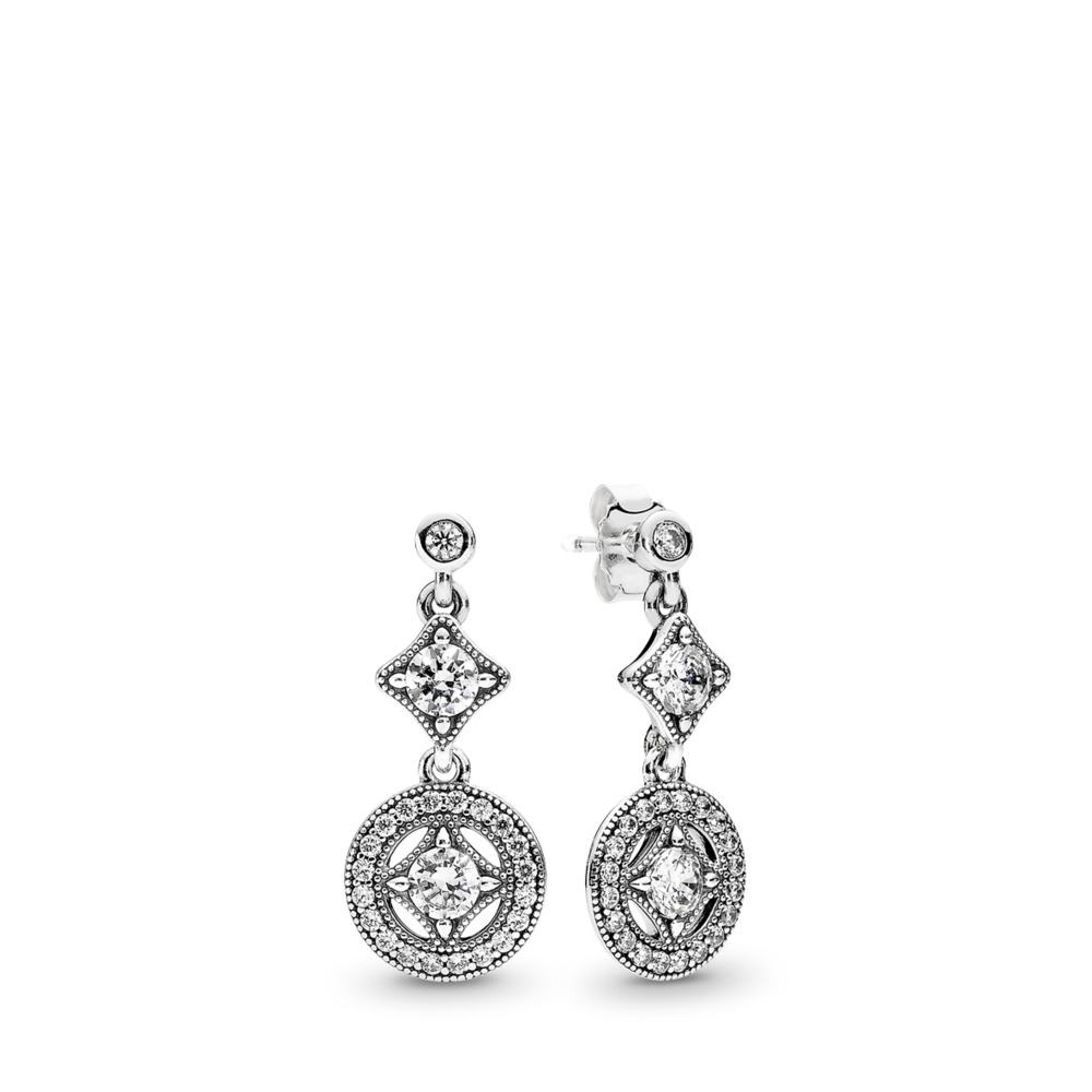 Vintage Allure Drop Earrings, Clear CZ, Sterling silver, Cubic Zirconia - PANDORA - #290722CZ