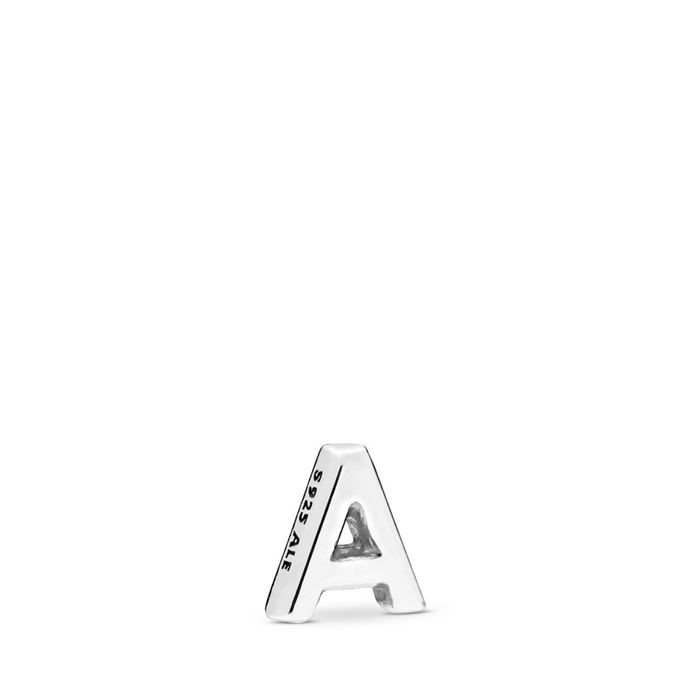 Letter A Petite Locket Charm, Sterling silver - PANDORA - #797318