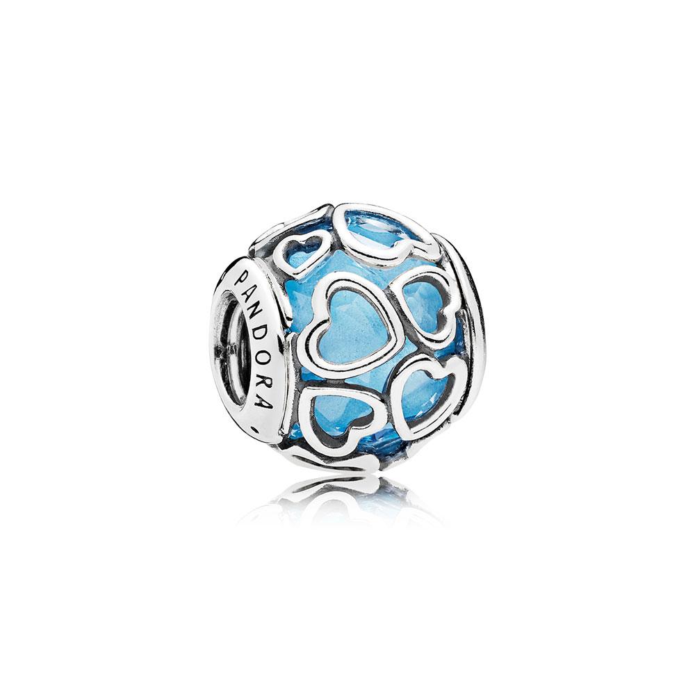 Encased in Love Charm, Sky Blue Crystal