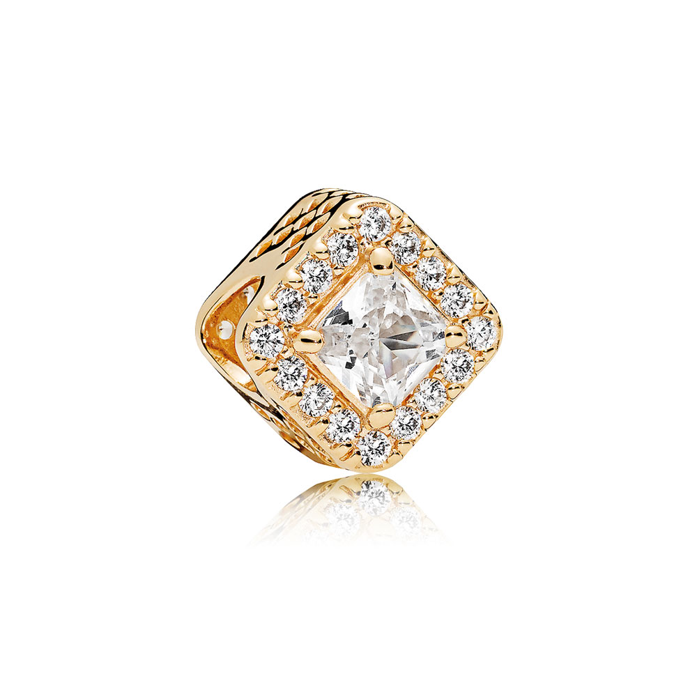 Geometric Radiance Charm, 14K Gold & Clear CZ