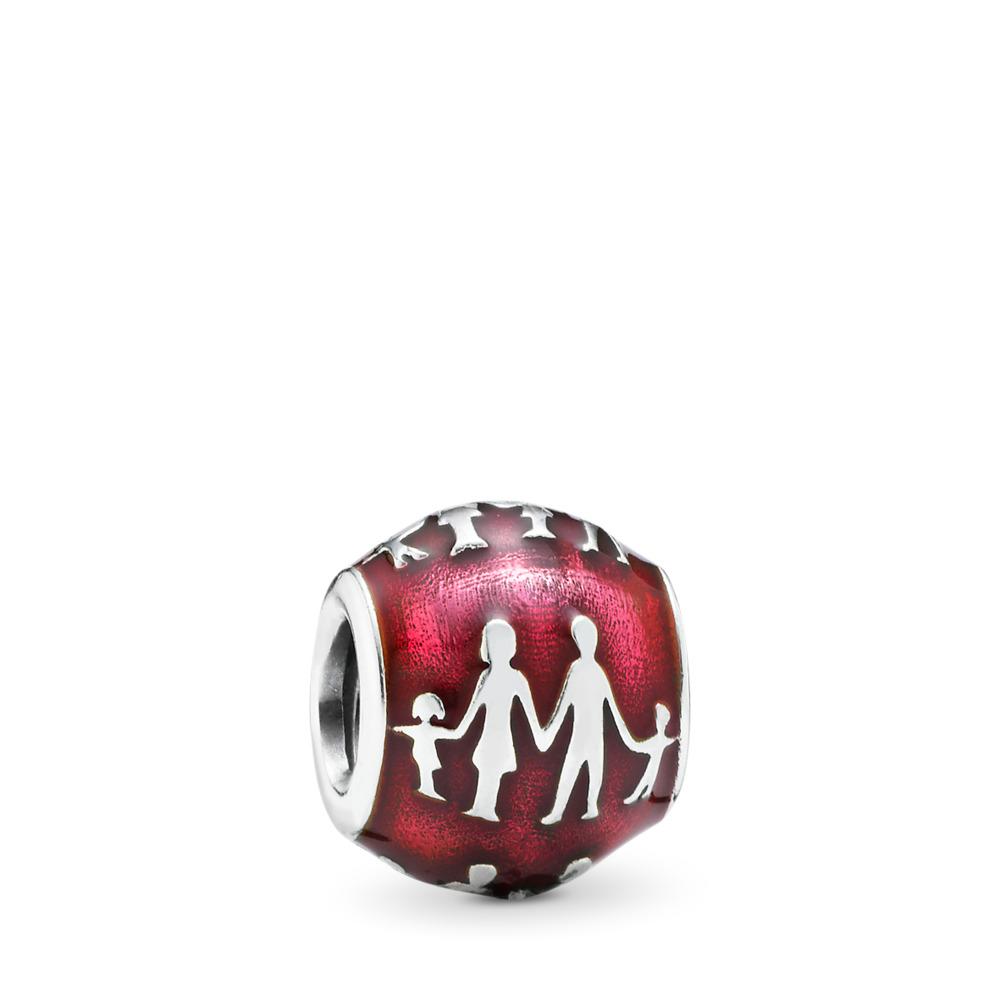 Family Silhouette Charm, Transparent Fuchsia Enamel, Sterling silver, Enamel, Pink - PANDORA - #791399EN62