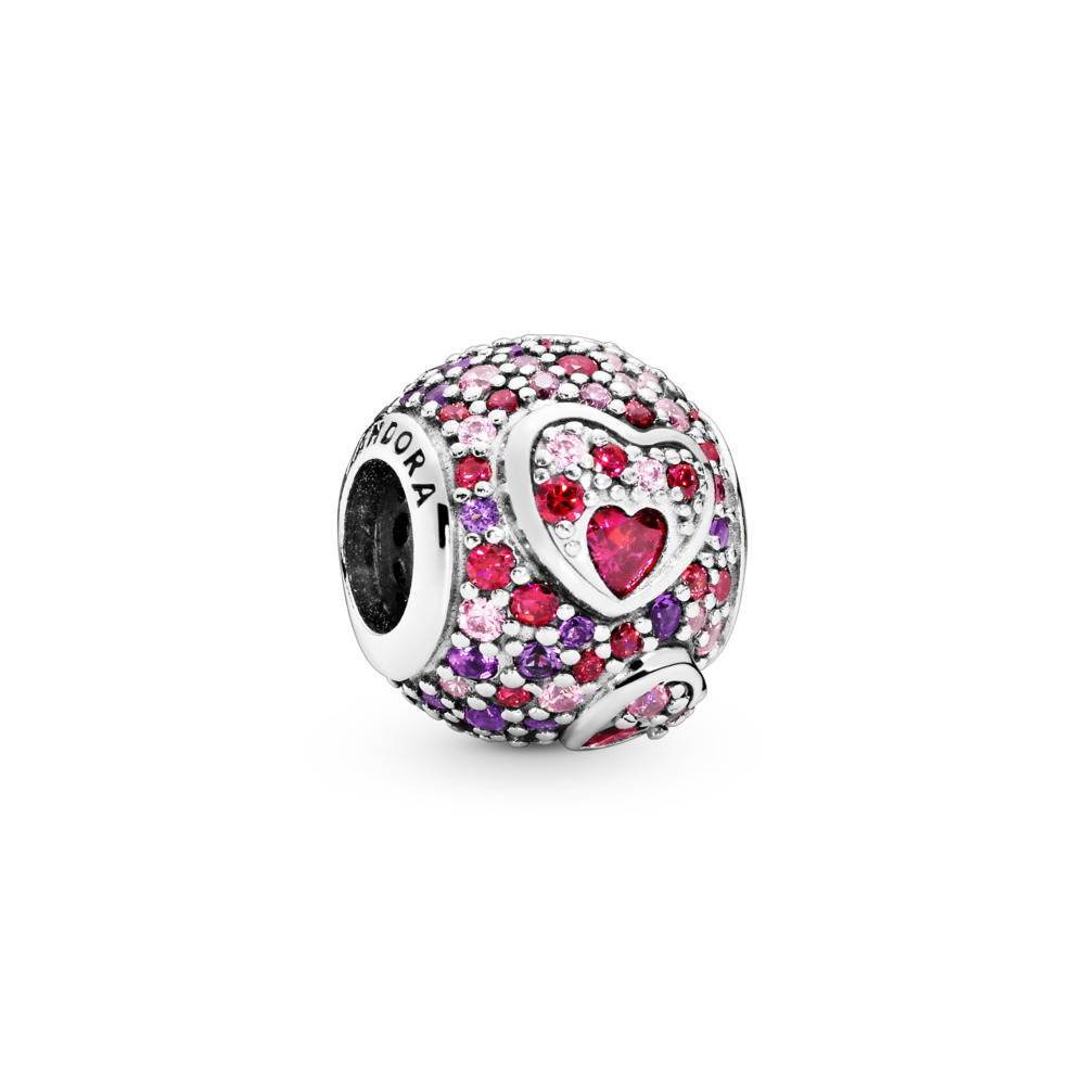Asymmetric Hearts of Love Charm, Red & Pink CZ, Royal Purple Crystals, Sterling silver, Mixed stones - PANDORA - #797826CZRMX