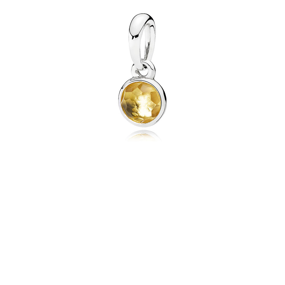 November Droplet Pendant, Citrine
