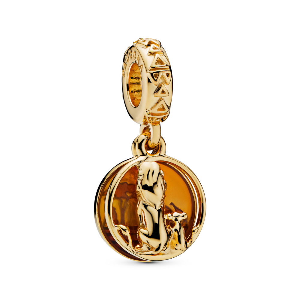 Disney, Simba & Mufasa Sunset Dangle Charm, 18ct Gold Plated, Enamel, Orange - PANDORA - #768262ENMX