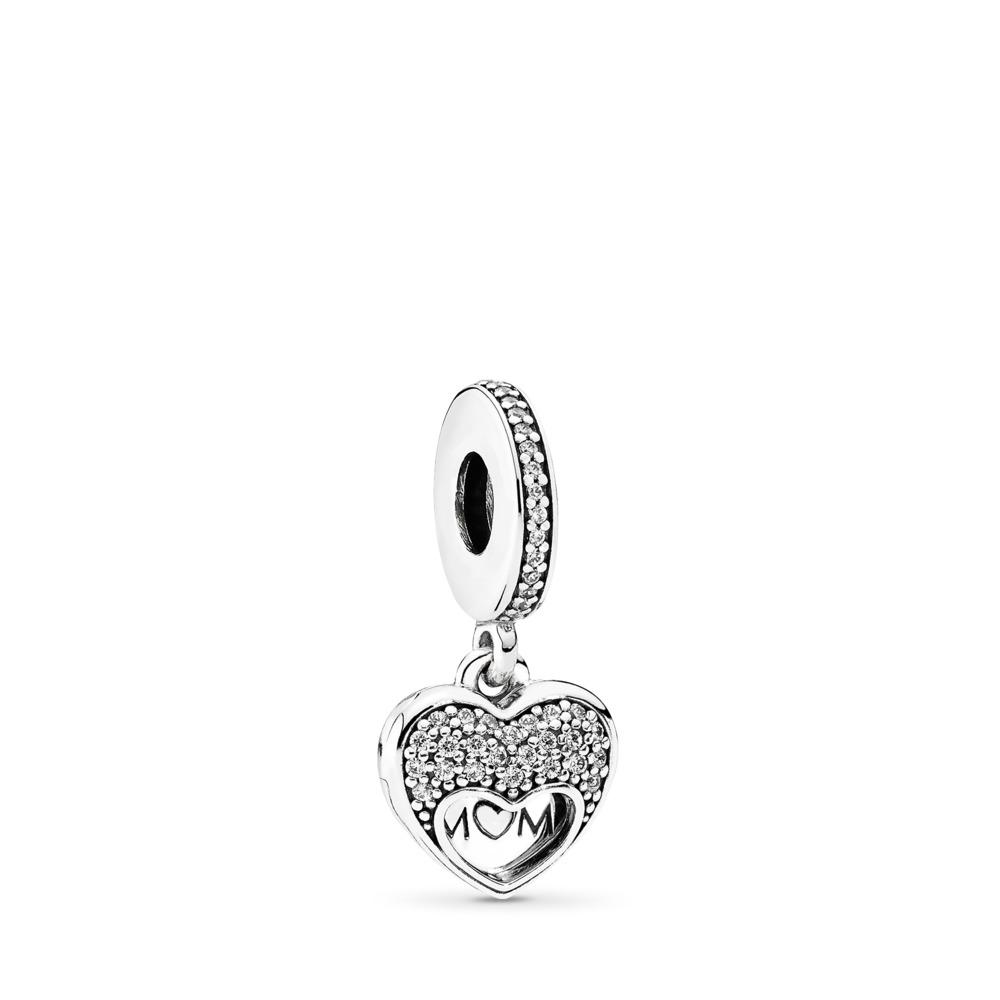 I Love My Mom Dangle Charm, Clear CZ, Sterling silver, Cubic Zirconia - PANDORA - #792071CZ