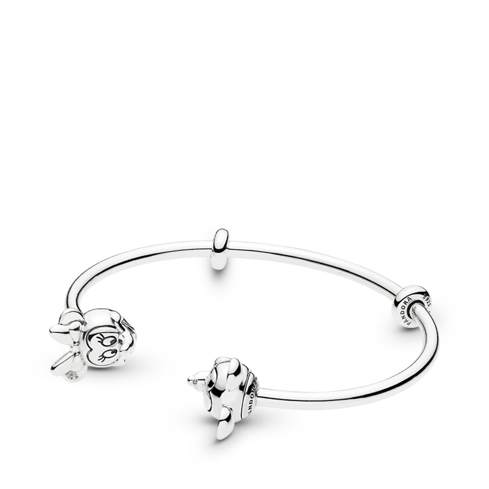 Disney, Mickey & Minnie Open Bangle Bracelet, Sterling silver, Silicone - PANDORA - #597494