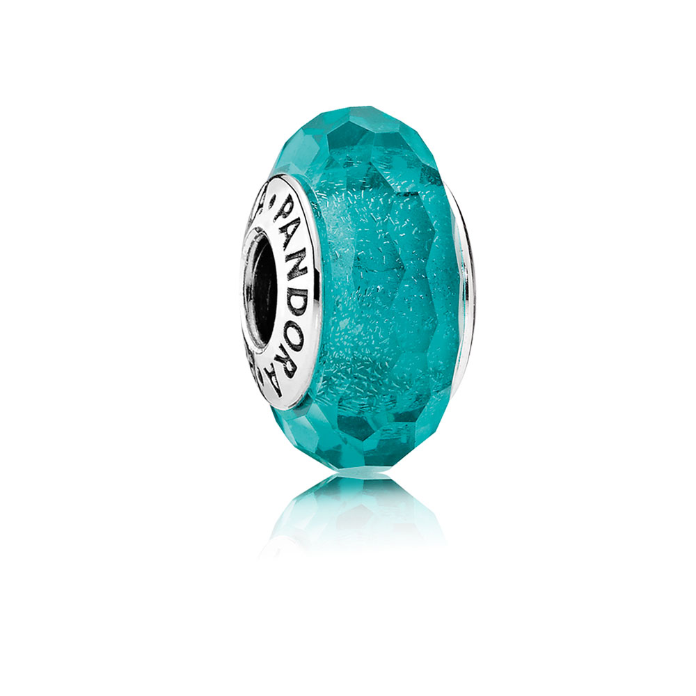 Teal Shimmer Charm, Murano Glass