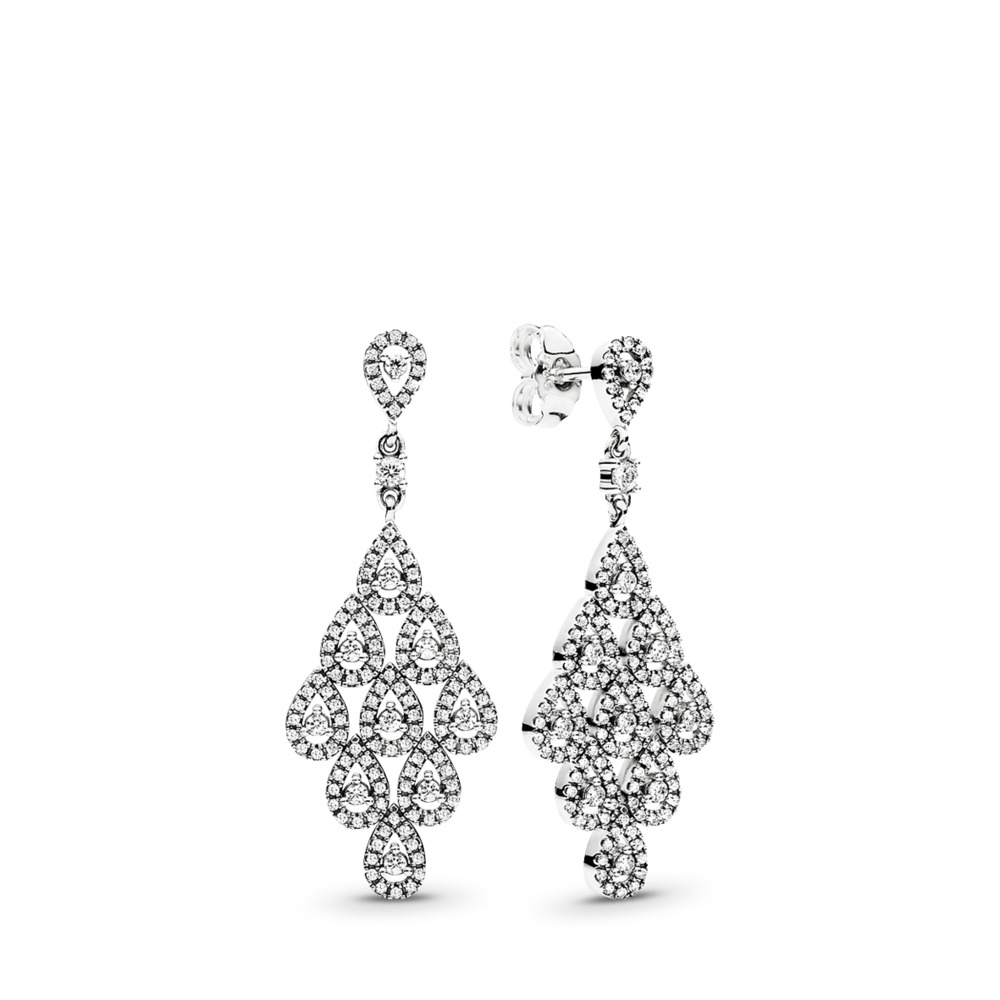 Cascading Glamour Earrings, Clear CZ, Sterling silver, Cubic Zirconia - PANDORA - #296201CZ