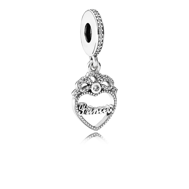 Princess Crown Heart Dangle Charm, Clear CZ