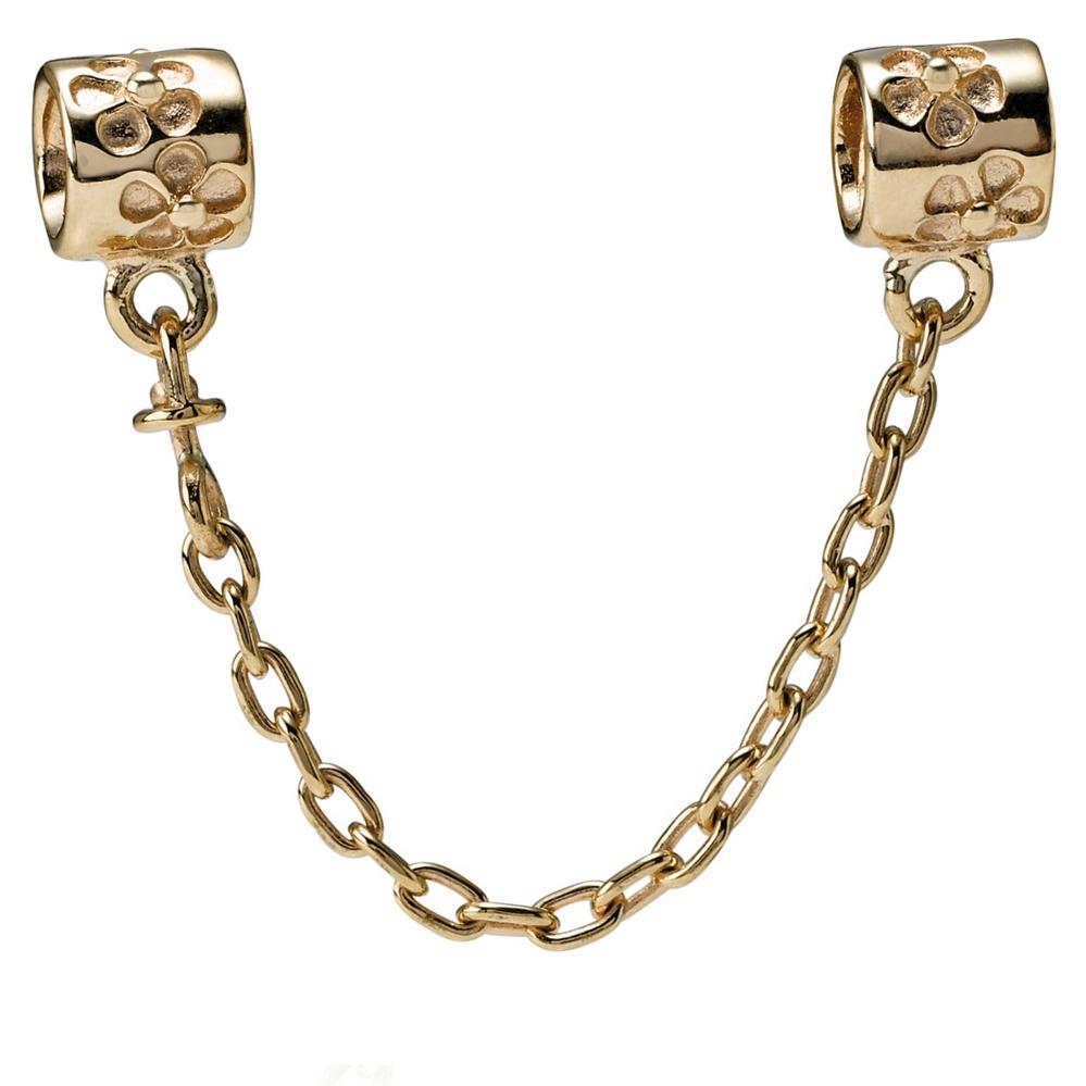 Flower Charm Safety Chain, 14K Gold