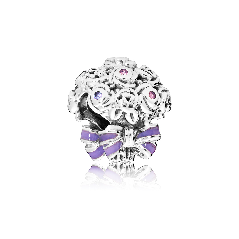 Celebration Bouquet Charm, Lilac & Rose Pink Crystals & Purple Enamel