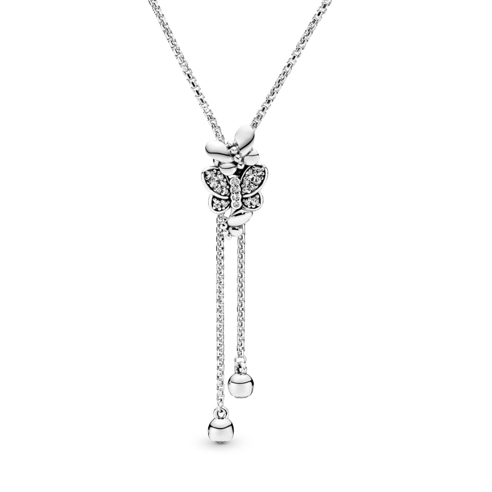 Dazzling & Dancing Butterflies Neckalce, Sterling silver, Silicone, Cubic Zirconia - PANDORA - #397911CZ