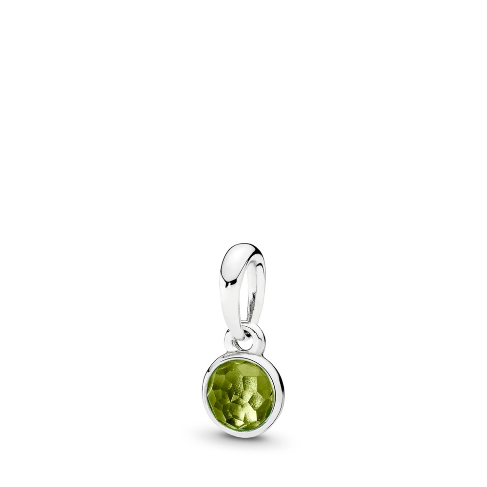 August Droplet Pendant, Peridot, Sterling silver, Green, Peridot - PANDORA - #390396PE