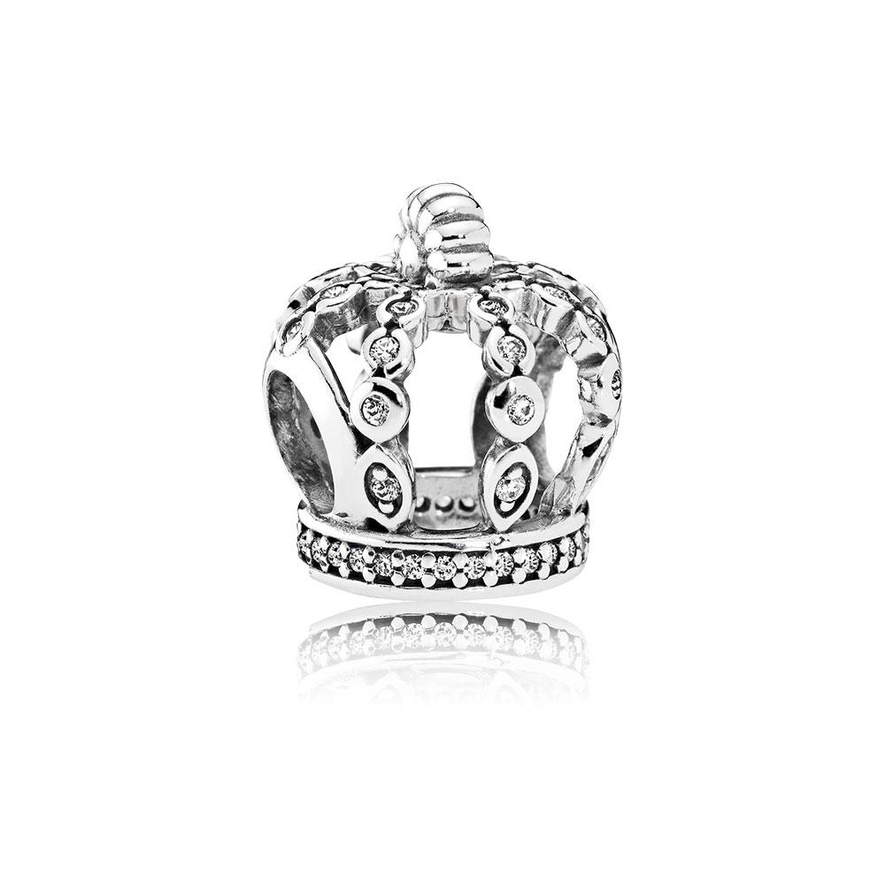 Fairytale Crown Charm, Clear CZ
