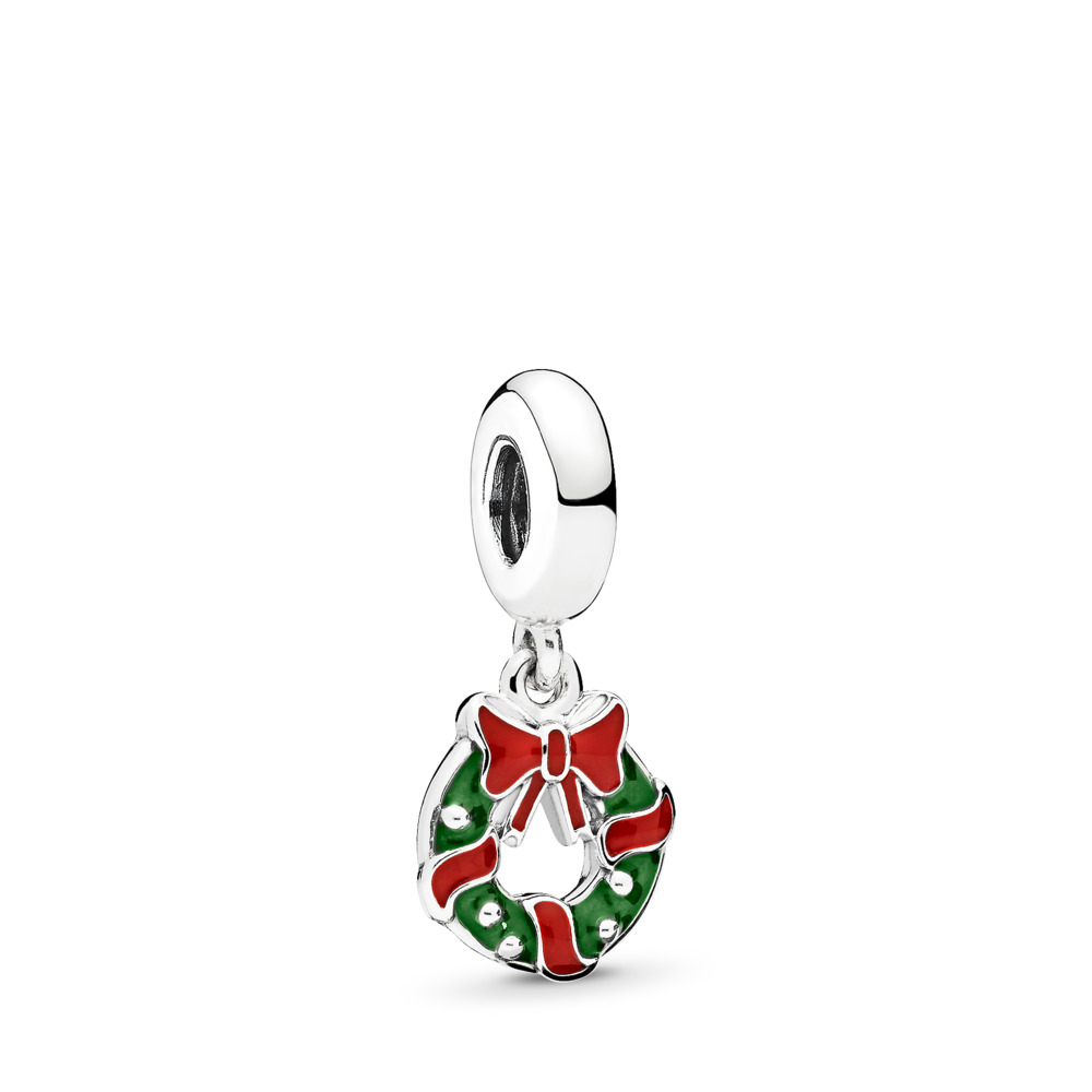 Holiday Wreath Dangle Charm, Berry Red & Green Enamel, Sterling silver, Enamel, Green - PANDORA - #796362ENMX